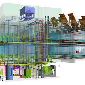 Modelado de arquitectura e instalaciones de Biblioteca de uso Municipal en Castilla-Leon.