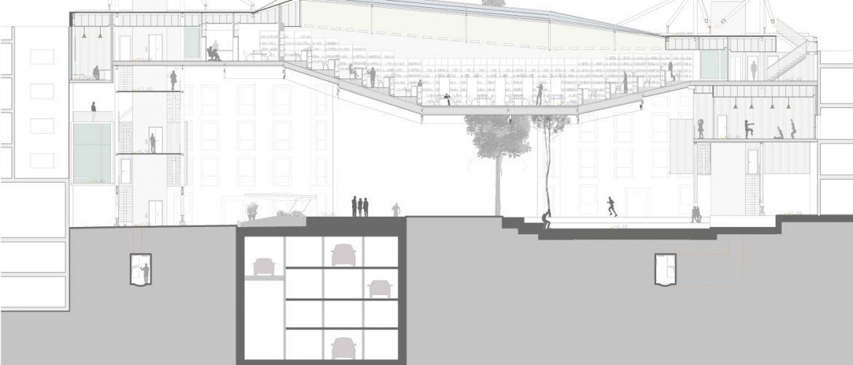Propuesta Centro Dotacional en Revit Madrid