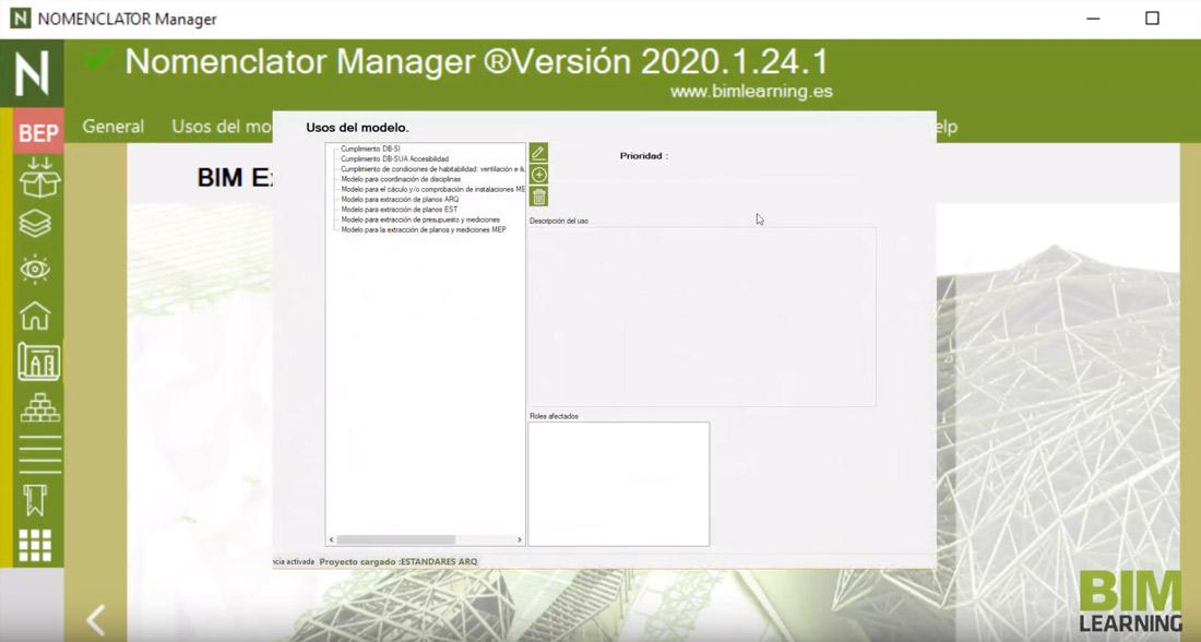 Nomenclator Manager como única utilidad para redactar el BEP y consultarlo desde Revit
