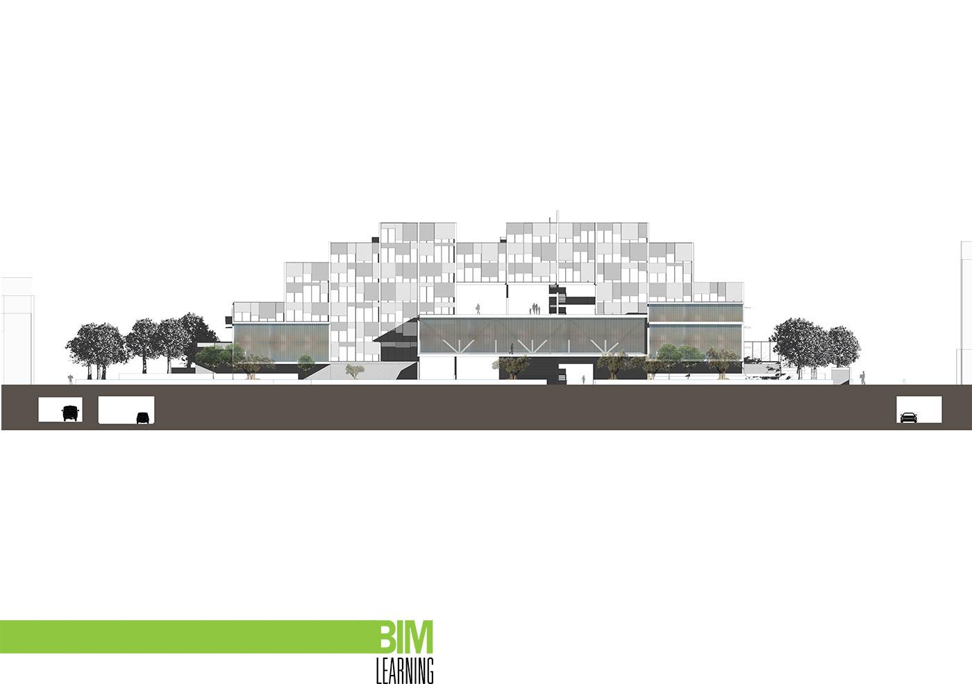 Propuesta edificio para viviendas y oficinas con revit for Oficinas seguridad social barcelona horarios